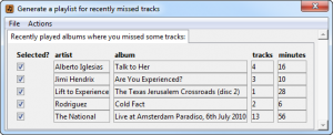 Missed Tracks options