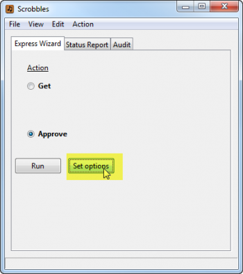 Set Options button