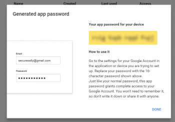 application password from google