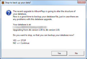 database upgrade message
