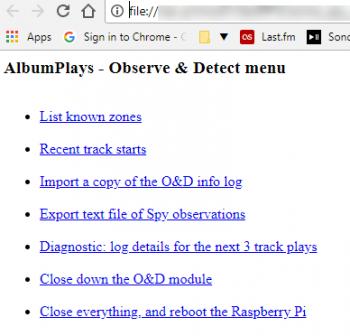 Control menu for the O&D component